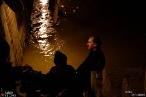 Tournage les pieds dans l'eauMovie set in the flood