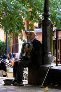 Un accordéoniste bien seul ..Street artist