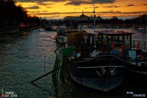 La crue de la Seine par une froide soirée d'hiver